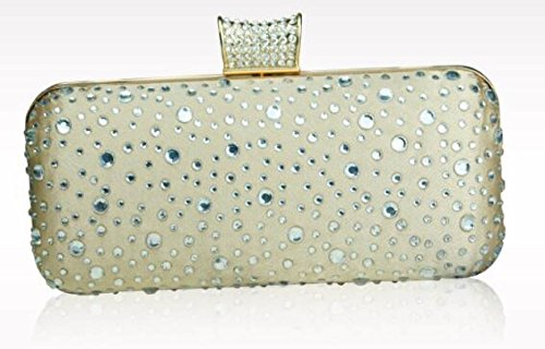 FZHLY Luxus-Hot Drilling Abendessen Abend Handtasche Gold