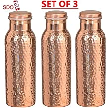 Traveller's 100 % Pure Copper Water Bottle for Ayurvedic Health Benefits   Joint Free, Leak Proof - Stylish Water Pitcher Bottle SET OF 3 PIECES