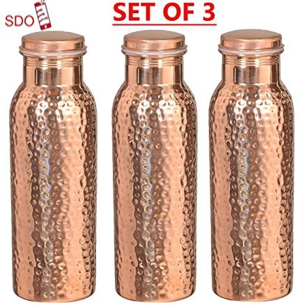 Traveller's 100 % Pure Copper Water Bottle for Ayurvedic Health Benefits | Joint Free, Leak Proof - Stylish Water Pitcher Bottle SET OF 3 PIECES