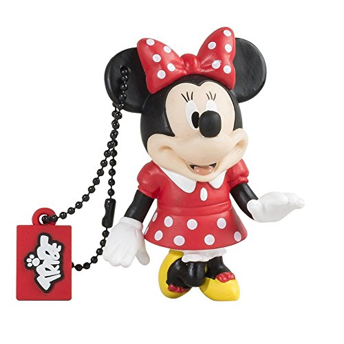 Tribe Disney Minnie Mouse - Memoria USB 2.0 de 8 GB Pendrive Flash Drive de goma con llavero, multicolor