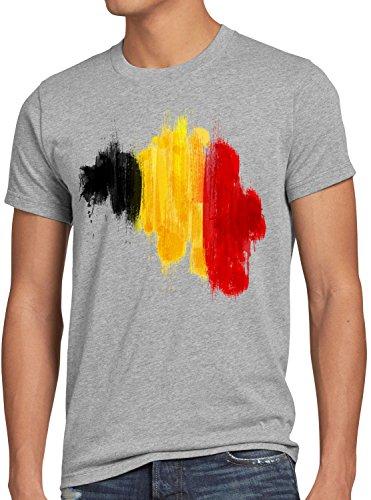 CottonCloud Flagge Belgien Herren T-Shirt Fußball Sport Belgium WM EM Fahne, Farbe:Grau Meliert, Größe:4XL