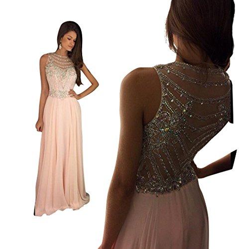 topquality2016 damen lange kleider rosa chiffon perlstickerei ballkleid ballkleider abendkleid. Black Bedroom Furniture Sets. Home Design Ideas