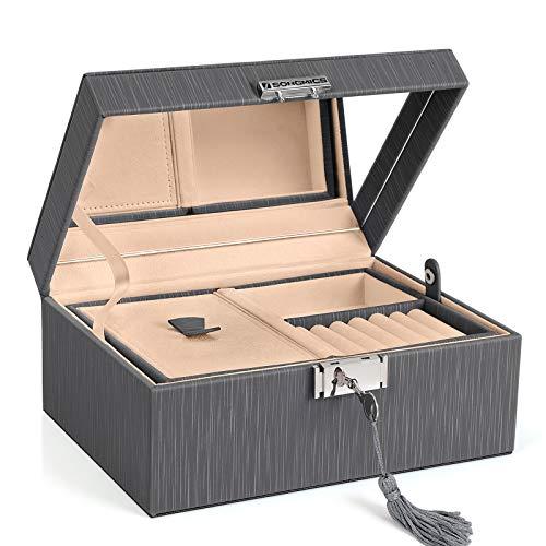 SONGMICS PU Jewellery Box 2 Tier...