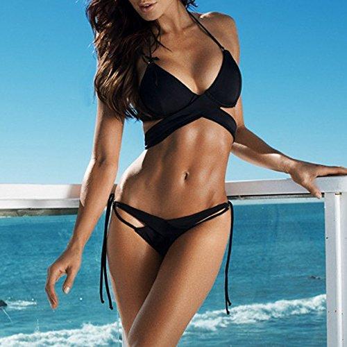 Italily -Bikini skinny in poliestere floreale in poliestere casual Set Bikini push up in costume da bagno push-up da donna sexy in bikini Nero