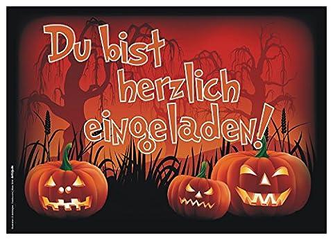 12er Set Halloween Einladungen / Gruselige lustige Einladungskarten für eure Halloweenparty / Perfekt auch für Kindergeburtstage von Jungen und Mädchen / Original (Kostüm-party-einladung Für Kinder)