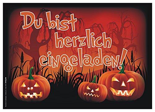 12er Set Halloween Einladungen / Gruselige lustige Einladungskarten für eure Halloweenparty / Perfekt auch für Kindergeburtstage von Jungen und Mädchen / Original ArtUp (Lustige Kostüme Für Frauen 2017)