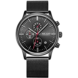 Fashion Mens Luxury Chronograph Luminous Black Quartz Watches Analogue Stainless Steel Mesh Band Wristwatch for Man