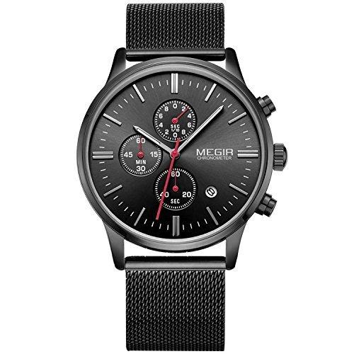 Moda Hombre Deluxe Cronógrafo Luminoso Negro Cuarzo Relojes Analógico Acero Inoxidable Malla Banda Reloj de pulsera para hombre
