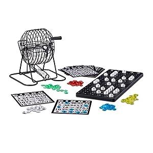 Relaxdays - Juego de Bingo con Jaula de Metal, 20 x 17,5 x 21,5 cm, Billetes de Bingo, Bolas Sueltas, Chips, Tablas de Juego, Color Negro