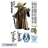 Star Wars Sticker Adhésif Mural Autocollant - Yoda, Maître Jedi, Que La Force Soit Avec Toi (70 x 50 cm)
