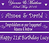 Personalised 80cm Purple Banner - Perfect for anniversaries, 16th 18th 21st 30th birthday parties, wedding, engagement party decorations
