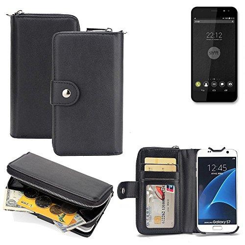 K-S-Trade 2in1 Handyhülle für Shift Shift4 hochwertige Schutzhülle & Portemonnee Tasche Handytasche Etui Geldbörse Wallet Case Hülle schwarz