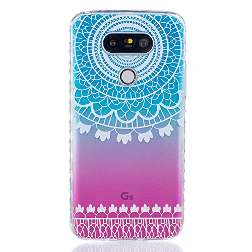 Qiaogle Telefon Case - Weiche TPU Case Silikon Schutzhülle Cover für Apple iPhone 7 Plus (5.5 Zoll) - BF54 / Don't touch my phone + Bär BF81 / Blau und pink Blume