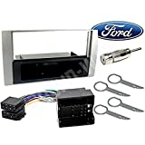 Kit Montage autoradio 1 DIN avec tiroir argenté Ford C-Max/Focus/Fiesta/Fusion/Galaxy/Kuga/S-Max/Transit façade
