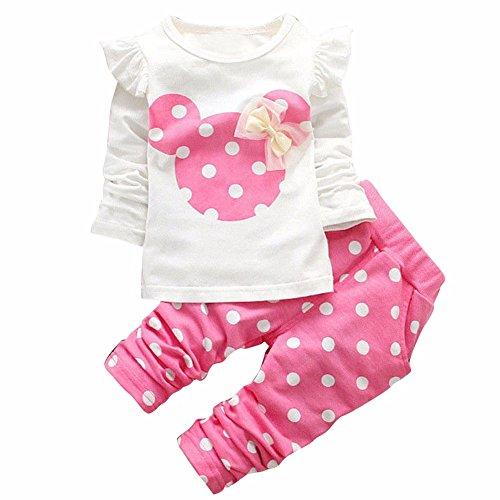 Tiaobug Babykleidung Baby - Mädchen Bekleidung im Set mit Langarmshirt und Hose 80 86 92 98 Rosa 80 (Herstellergröße:80)