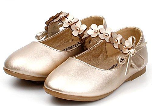 Nett Mädchen Blumen Klettband Tanzschuhe Prinzessinschuhe Gold