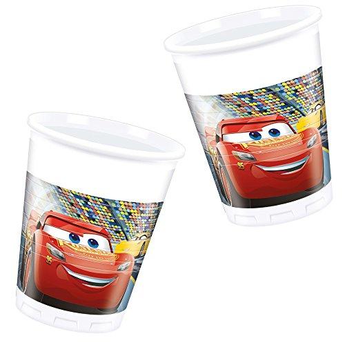 von Disney für Kindergeburtstag oder Motto-Party // Party Partybecher Cups Motto Lightning McQueen Autos Rennautos Rennen ()