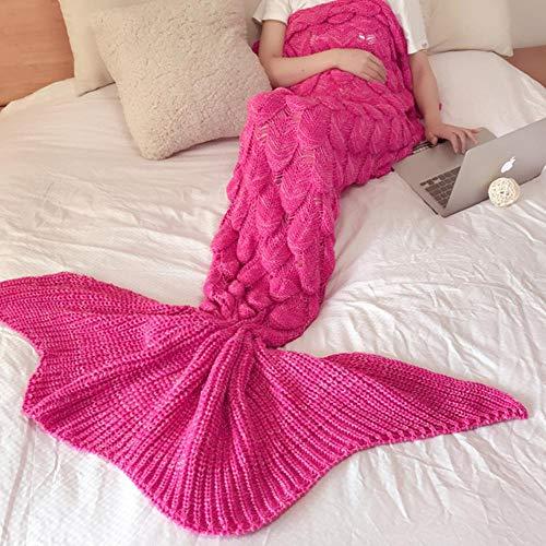 Kai&guo 180x80cm morbido lavorato a maglia coda di sirena coperta uncinetto fatto a mano sacco a pelo per bambini donne adulte per tutta la stagione compleanno regalo di capodanno, rosa
