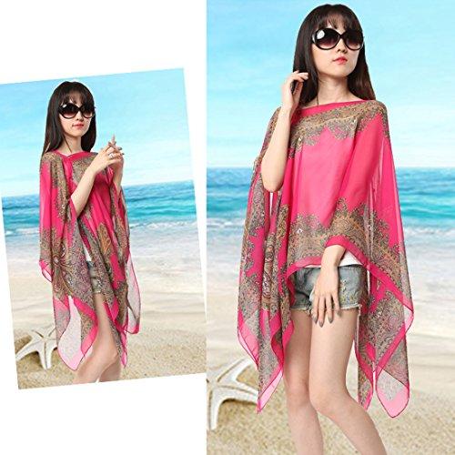 Sommer Damen Chiffon Beachwear Schals Poncho Bikini Cover-up Batwing Chiffonbluse Tops color5