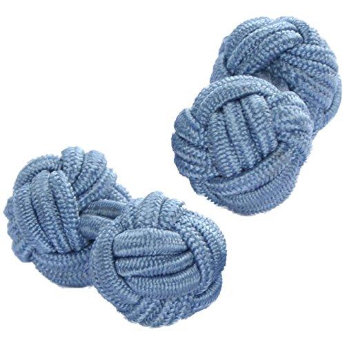 Cuffs & Co Manschettenknöpfe Seide, Knotenform, blau Gr. Einheitsgröße, Dusky Pale Blue