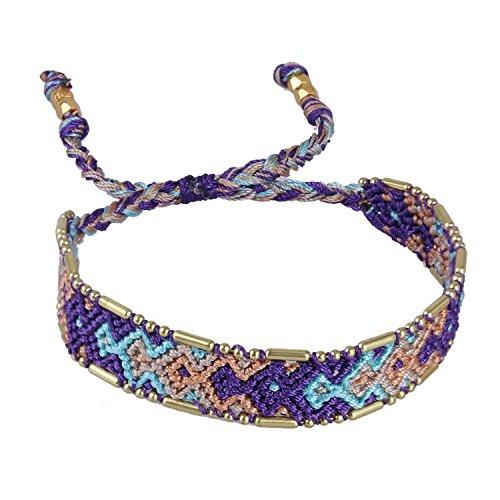 KELITCH Lila/Blau/Orange Boho Handgefertigt Woven Geflochtene Freundschaftsbänder Damen-Armband