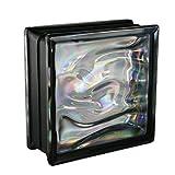 6 Stück BM Glassteine AQUA Perlmutt Schwarz 19x19x8 cm