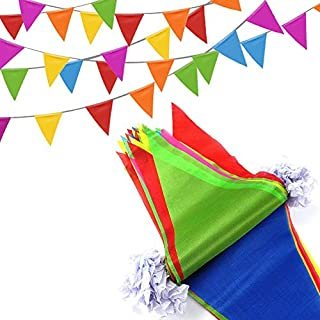 Abimars Bunting Banner, 260 Feet Multicolor Nylon Pennant Banners Flag Outside Party Banner 200 Flags for Wedding Birthday Party Garden Brand Opening Home Decoration Indoor Outdoor Party Festival Decorations
