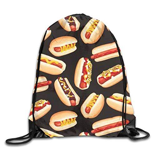 Naiyin Delicious Hot Dog Pattern Drawstring Backpack Bag Rucksack Shoulder Sackpack Sport Gym Yoga Runner Beach Hiking Dance (Stuff Erwachsenen Store Hot)