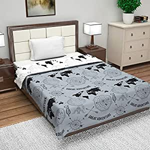 Divine Casa Microfiber Reversible 100 GSM Abstract Single A/C Dohar/Blanket/Quilt - Neutral Grey and White