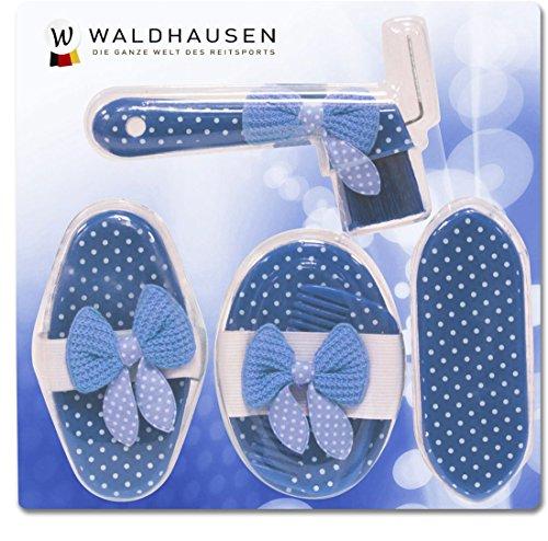Cavalli Set di pulizia Set per la cura 5teilig striglia + spazzola + kardätsche + pettine + pala cavallo blu