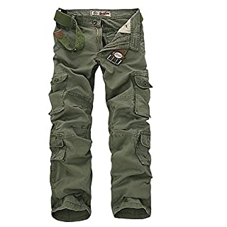 Sunshey Mens Casual Combat Cargo Pants Trousers Loose Cotton Work Wear Camouflage Trousers Size 28-46 (42, Army Green)