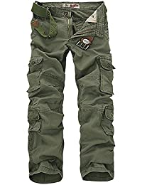 Sunshey Mens Casual Combat Cargo Pants Trousers Loose Cotton Work Wear Camouflage Trousers Size 28-46