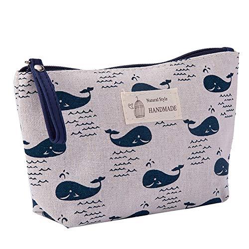 Oyfel trucco borse in cotone e lino cosmetici organizzatore della borsa con cerniera per cosmetici e articoli da viaggio regalo per bambine da donna vari disegni 21* 13cm