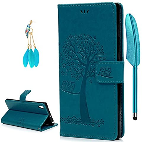 Sony Xperia XA1 Ultra Case, YOKIRIN Owl Tree Relief Embossed Premium PU Leather Wallet Folio Flip Stand Cover Case With Card Slots Cash Pouch Drop-Protection Bumper Shell for Sony Xperia XA1 Ultra -
