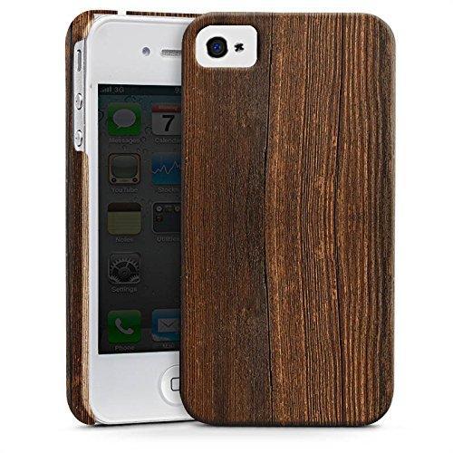 Apple iPhone X Silikon Hülle Case Schutzhülle Nußbaum Holz Look Premium Case glänzend