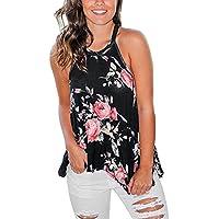 Hibluco Women's Casual Halter Neck T-Shirts Sleeveless Tank Tops Floral Print Blouses (X-Large, Black)
