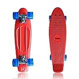 datechip Kinder komplett Skate Boards–Kunststoff PU Wheels Skateboards 55,9cm für Kind Anfänger Mädchen, rot