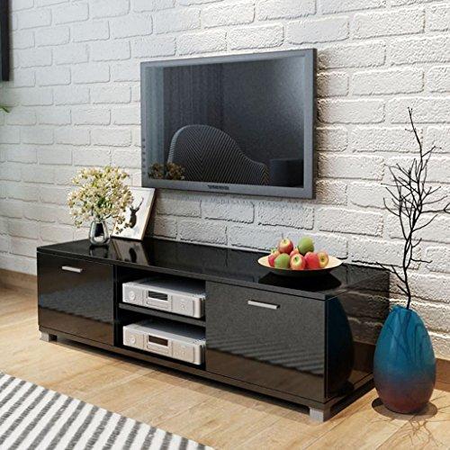Vislone Meuble TV à Haute Brillance Noir 140 x 40,3 x 34,7 cm