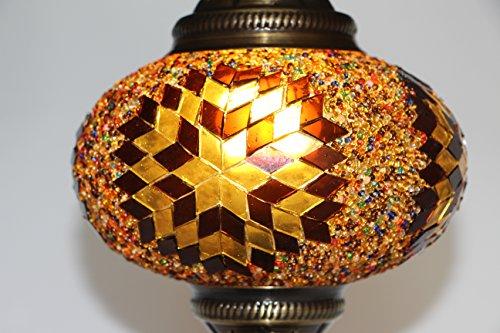 Turkish /Moroccan Mosaic Glass Hanging Ceiling Lamp Pendant Light Fixture, 18cm (Caramel)