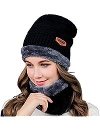 Cappello caldo in maglia e sciarpa cerchio Cappello da sci Cappello da  sport esterno Set di f1bd5cab17d1