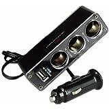 chinkyboo 3 Way Multi Socket Car Cigarette Lighter Splitter Usb Plug Charger DC 12V Triple Adapter + Usb Port+chinkyboo logo bag