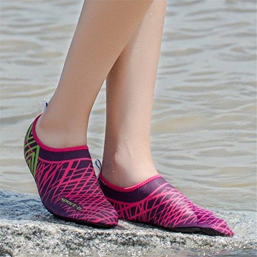 iLory Femmes Hommes Chaussures de L'eau Aux Pieds Nus Plage Et Piscine Chaussures Aquatiques Chaussures D'eau Chaussures de Plage Rose