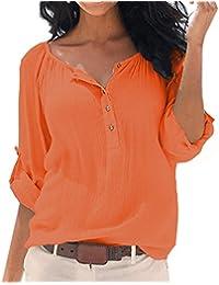 SUNNOW Damen New Mode Langarmshirts V-Ausschnitt Einfarbig Bluse Locker Basic Casual T-Shirt Oberteil