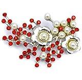 Elixir77UK Brosche, silberfarbene Blumenblüten, Geschenk, mit roten Kristallen und Kunstperlen