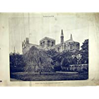 Fotografia di Vista Esteriore della Cattedrale 1898 di Peterborough - Antichi Da Collezione Delle Fotografie