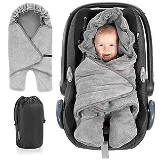 Zamboo Manta envolvente bebé con pies, capucha y bolsa – Primavera – Otoño/Arrullo para sillas Grupo 0+(se adapta a Maxi-Cosi/Cybex/Römer) y cochecitos – Gris