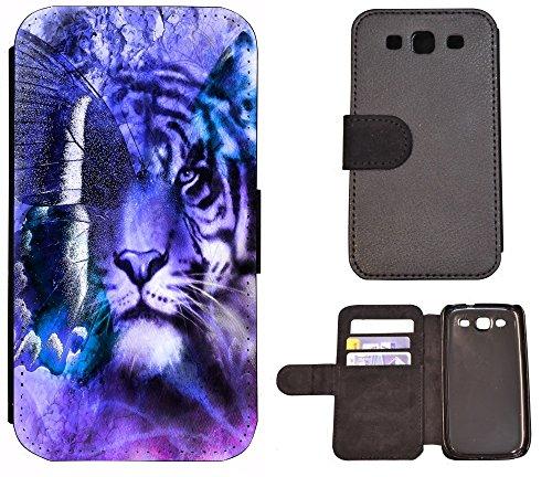 FioMi-Protect Schutz Hülle Flip Cover Handy Tasche Etui Case für (Samsung Galaxy S3 i9300, 1044 Löwe/Tiger/Schmetterling Lila)