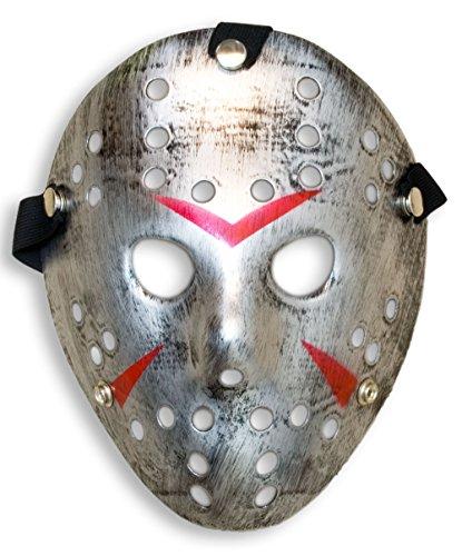 HOMETOOLS.EU - Halloween Maske | Kostüm Horror Hockey Myers Maske | Shabby silver (Hockey Kostüme Kinder)