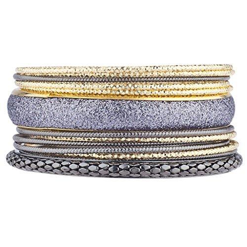 e Gold Tones Gunmetal Glitter Mesh Diamant Schnitt Armreif Set (Armreifen Armbänder Sets)