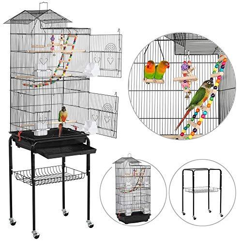 Yaheetech gabbia voliera per uccelli pappagalli calopsite inseparabili con piedistallo ruote in metallo e legno da interno e esterno nera 46 x 35,5 x 158,5 cm